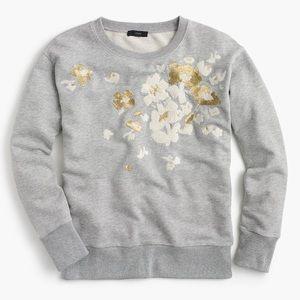 JCrew embroidered flower sweatshirt BNWT